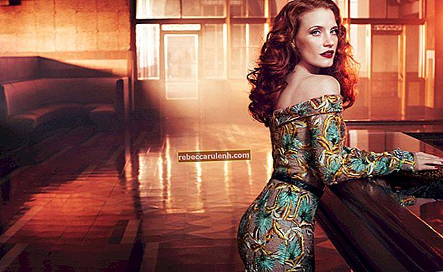Jessica Chastain: altezza, peso, età, statistiche corporee