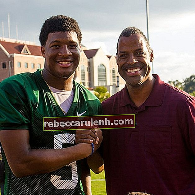 Jameis Winston with his fan as seen at the Albert J. Dunlap Athletic Training Facility in Tallahassee, Florida in October 2013